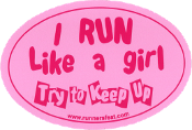 Run Like A Girl Small Pink Sticker
