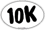 10K White Oval Sticker